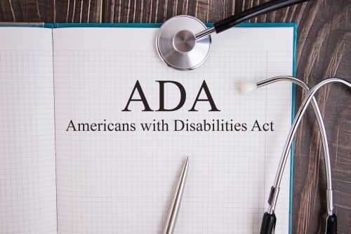 Notebook page with text ADA Americans with Disabilities Act