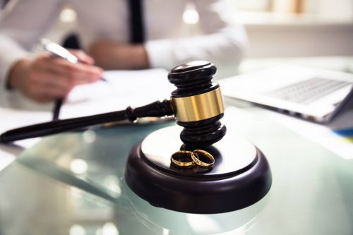 Wedding Rings And Judge's Gavel